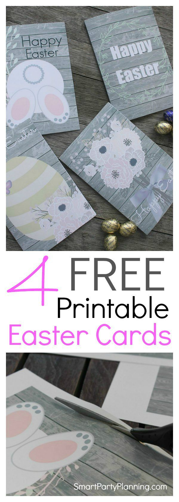 DIY free printable Easter cards complete with bunnies, eggs and flowers.. Send a beautiful Easter card to someone you love this year. Download and print it for free. With 4 super cute fun designs to choose from, the cards will be sure to delight. Simply print, cut fold and send. It couldn't be easier. #Eastercards #Freeprintable #Bunnies