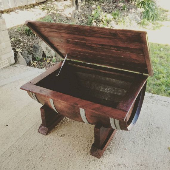 Wine Barrel Coffee Table With Recycled Timber Top That Opens On Hinges,  Made In Australia. Upcycled And Reclaimed Wood.