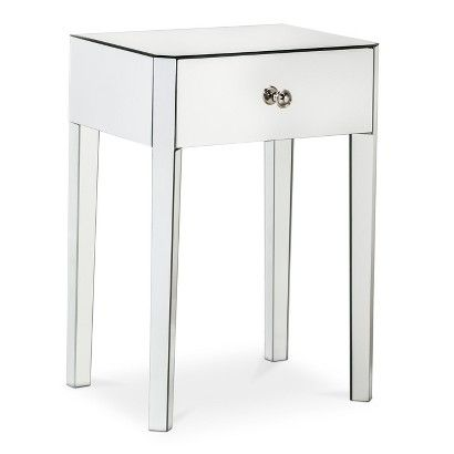 "Threshold™ Mirrored Accent Table with Drawer TARGET $63.99 after 20% discount             22.0 "" H x 16.0 "" W x 12.0 "" D"
