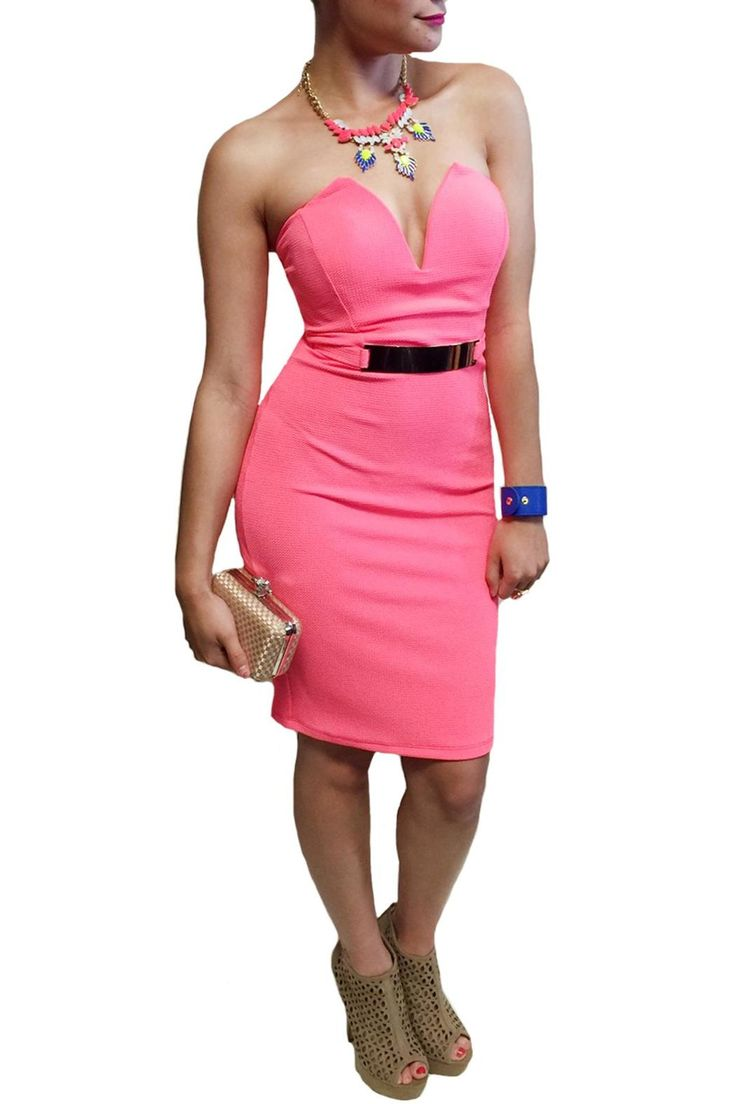 This sexy bodycon dress is perfect for any occasion! The form fitting material and gold plate belt shows off your beautiful curves! Pair this with wedges for a casual day around town or some pumps for a sexy night out.   Pink Bodycon Dress Clothing - Dresses - Strapless Las Vegas