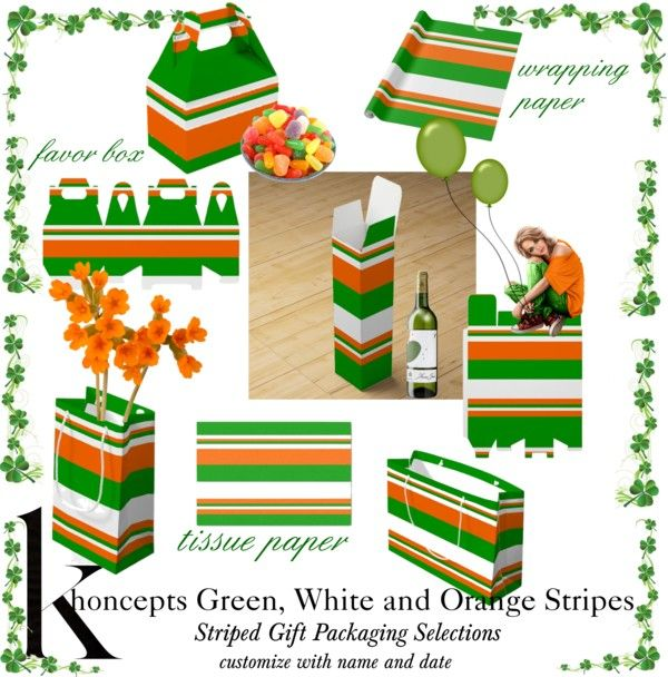 Green, White and Orange Stripe Gift Packaging Ideas