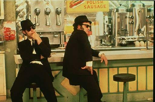 """Elmore and Joliet Jake (Dan Akroyd and John Belushi): The Blues Brothers.  A fine band with Steve Cropper, Duck Dunn, Matt """"Guitar"""" Murphy, and others."""