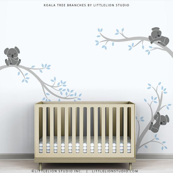 Baby Wall Decals Blue Boys Room Decor Tree Sticker New Baby Gift   Koala  Tree Branches By LittleLion Studio
