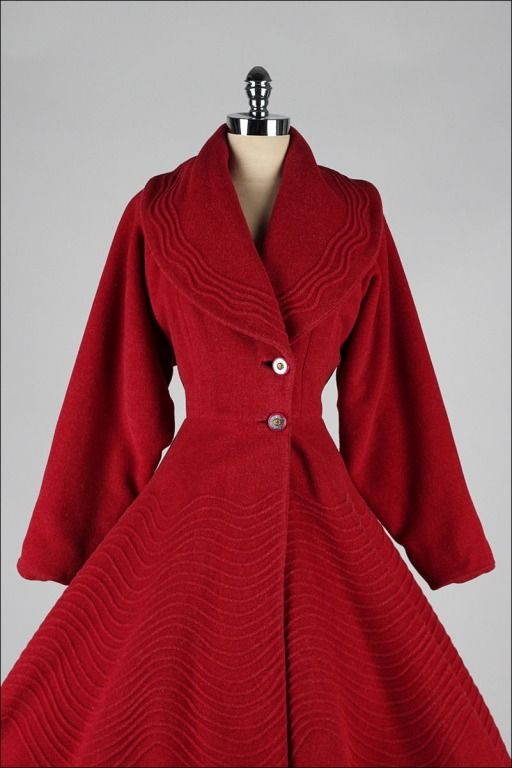 Vintage 1950's Red Wool Fit & Flare Princess Coat | From a collection of rare vintage jackets at https://www.1stdibs.com/fashion/clothing/jackets/