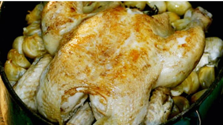 Høne med femti hvitløkfedd