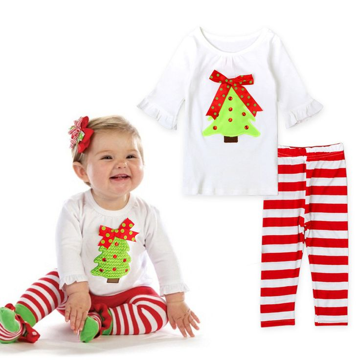 new christmas Autumn baby girls clothes set long sleeve shirts + striped leggings outfit baby suit for baby kids girls clothing