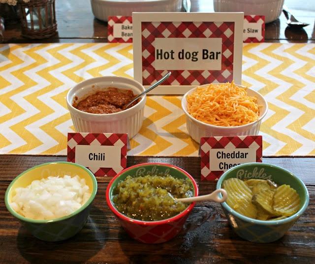 Hot dog bar for a summer cookout