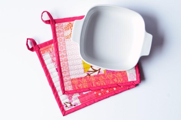 Pink Quilted Patchwork Potholder Set by sewandtellhandmade