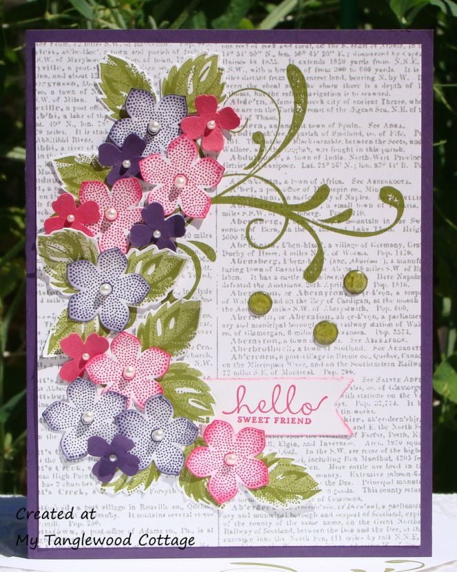 Stamps      Petite Petals,    Stippled Blossoms      Six-Side Sampler     Everything Eleanor (     Dictionary  Paper and Ink:     Whisper White CS       Eggplant Envy CS & Ink:      Melon Mambo CS & Ink      Old Olive Ink      Smoky Slate Ink    Accessories     Pearl Basic Jewels      Crystal Effects      Blendabilities – Old Olive Assortment (     Bone Folder (     Itty Bitty Accents Punch-Pack