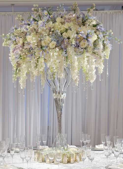 tall, dramatic centerpiece #party #wedding #white