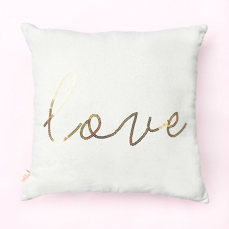 """Love Gold Sequins Pillow Cover. Cozy up with a good book or movie with your new SWD pillow! Perfect to display on our couch or in any bedroom, our classic pillows are soft, comfy, and made with a natural cotton canvas material. This cover can be paired with any 16x16"""" pillow insert! ♥ 16x16"""" Cotton Canvas Off-White Pillow Cover Only ♥ Pillow Reads: Love in Gold Sequins ♥ Design On One Side ♥ Includes Pillow Cover Only ♥ Pillow Cover Can Be Hand Washed in Cold Water as Needed."""