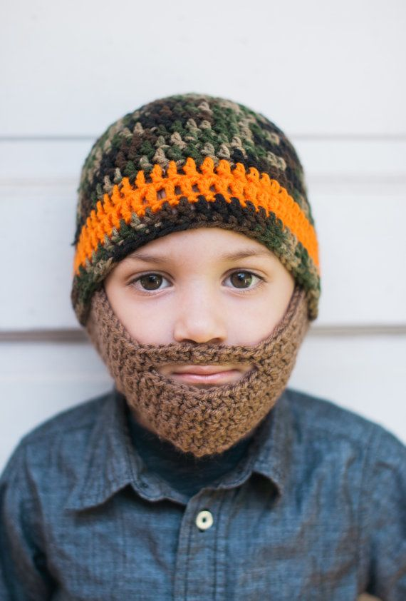 Camo Crochet Beard Hat with detachable beard  by TheresasCrochetShop