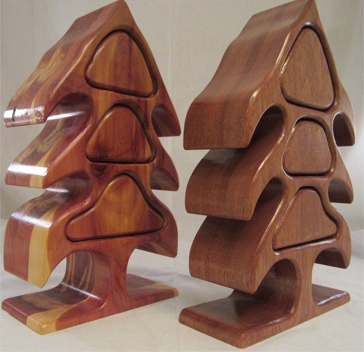 Christmas Tree Bandsaw Boxes Red Cedar and Mahogany - by ...