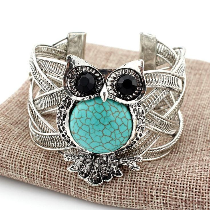 Vintage Silver Owl Bracelet with Turquoise Stone