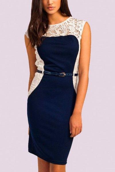 Dámske šaty s čipkou - modrobiele