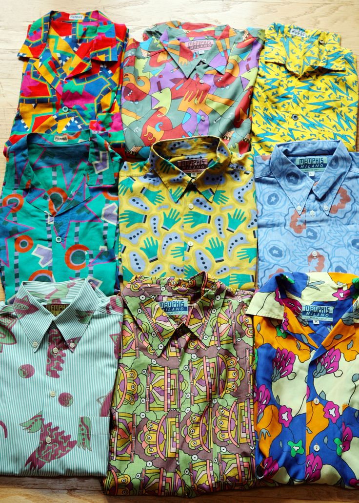Memphis-Milano shirts and fabric designs by Nathalie du Pasquier and other designers.
