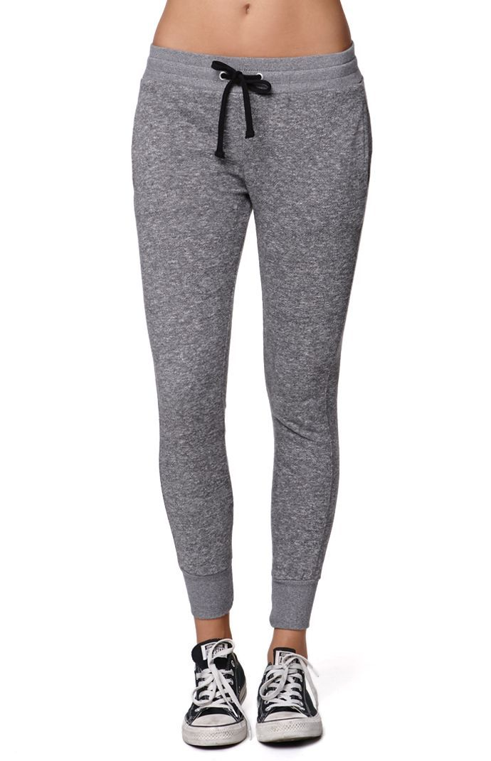 "The women's Marled French Terry Jogger Pants by LA Hearts for PacSun and PacSun.com feature a super soft feel and comfortable drawstring waistband. We love wearing these with our graphic tees and sneakers.	10"" rise	26"" inseam	Measured from a size small	Model is wearing a small	55% cotton, 45% polyester	Machine washable 	Imported"