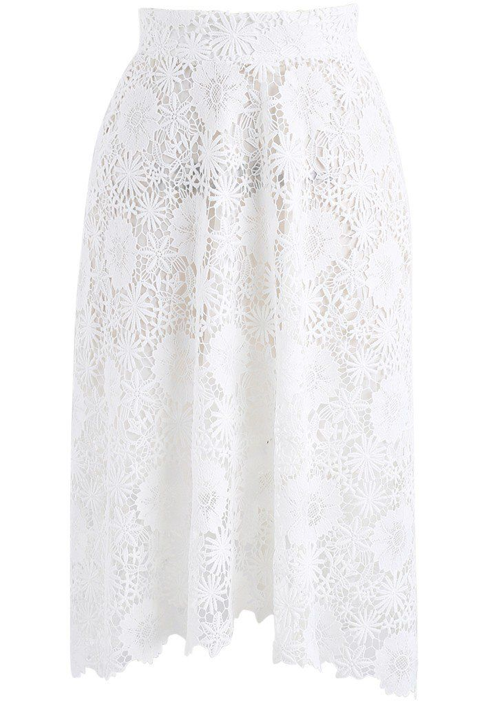 Blossom Moment Crochet A-line Skirt in White- New Arrivals - Retro, Indie and Unique Fashion