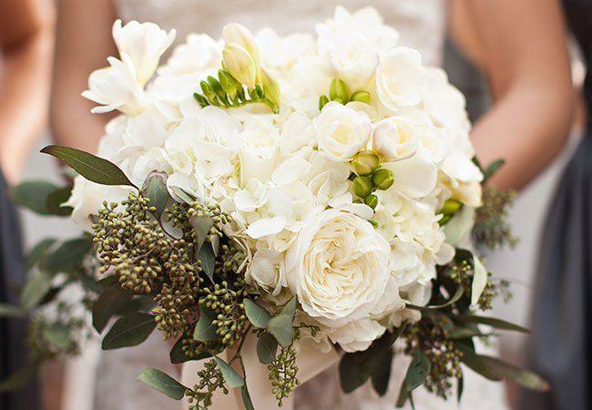 Eucalyptus and Hydrangea Bouquet | Honey Heart Photography | blog.theknot.com