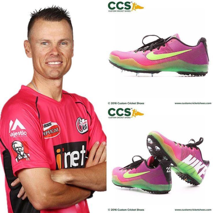 Johan Botha's sleds for tonight's #BBL clash @sixersbbl V @perthscorchers #t20 #cricket #customcricketshoes