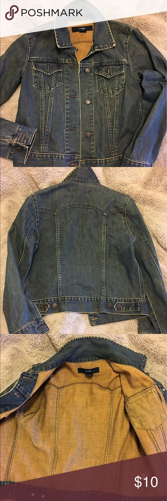 GAP Denim Jacket. Adorable GAP Denim Jacket. In dark denim wash. Button front closure with front pockets detail. Size Small. In great condition. Barely used. No missing buttons. No holes, no tears, no stains. Newly washed and ready to wear. Great versatile denim jacket. GAP Jackets & Coats Jean Jackets