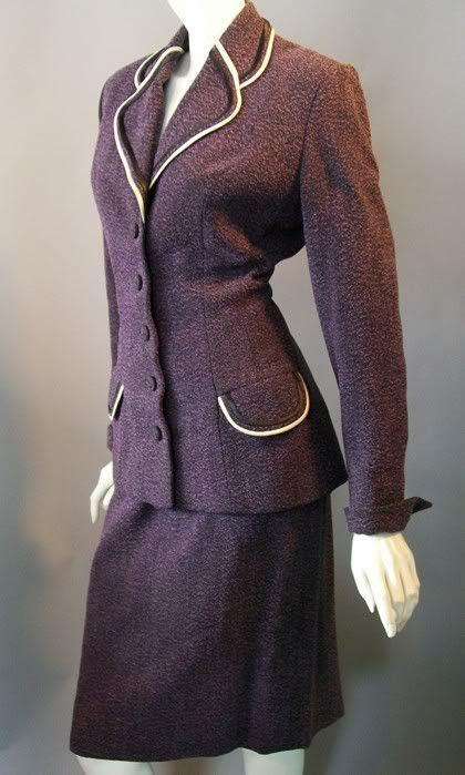 Dorothea's Closet Vintage Suit Dress Lilli Ann 40's Suit Purple Boucle Wool Noir