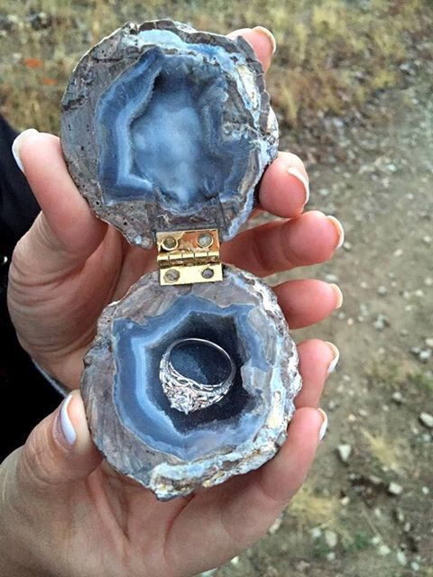 Engagement ring in a geode box. Love it! What do you think?  Amazing Geologist