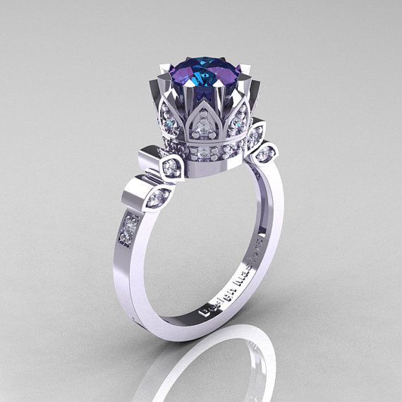 Classic Armenian 14K White Gold 1.0 Alexandrite by artmasters, $1859.00