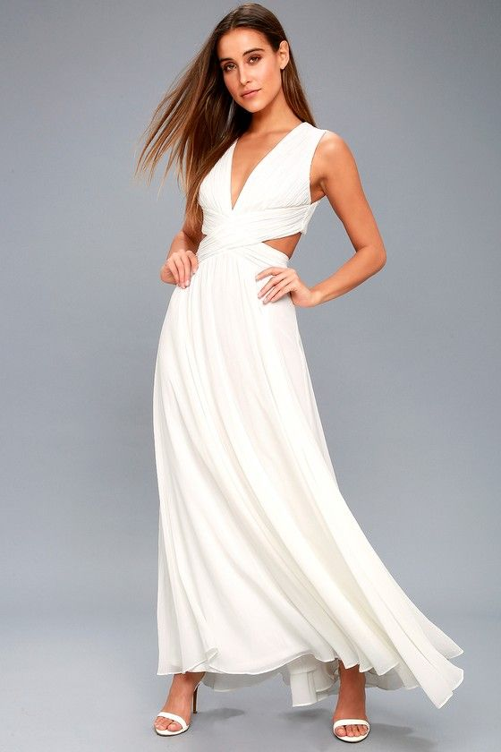 b849a82773390 Even your wildest dreams can come true in the Vivid Imagination White  Cutout Maxi Dress! Pleated chiffon sweeps into a plunging V-neckline and  fitted bodice ...