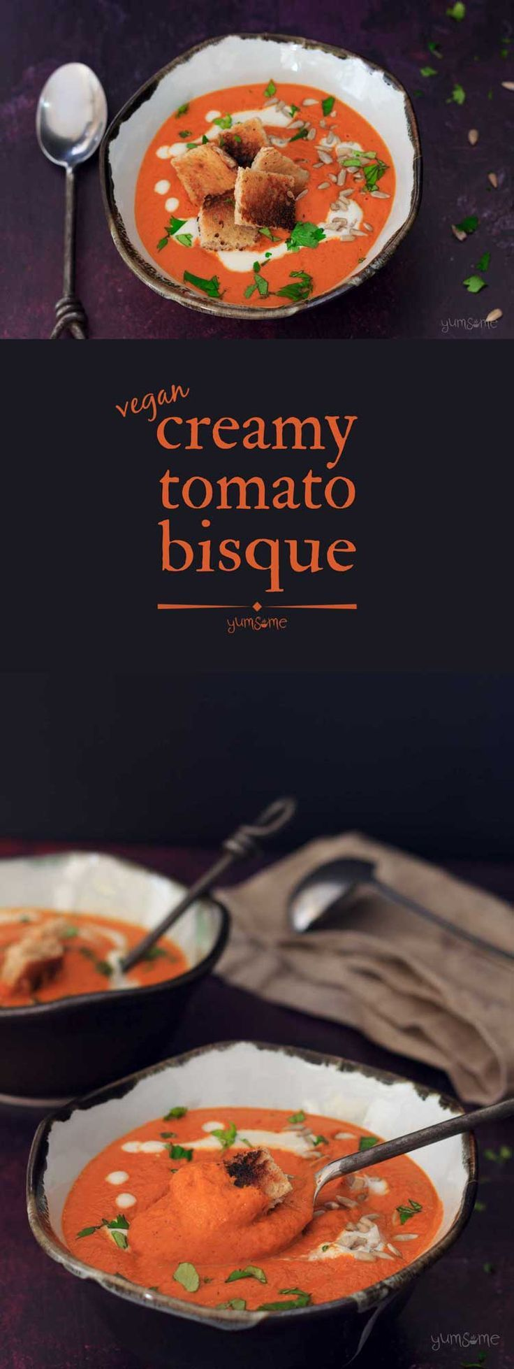 Ready in 8 mins, and only 174 cals, this creamy #vegan #tomato #bisque owes its smooth velvety texture and richness to B Vitamin-rich #sunflower seeds.  | yumsome.com via @yums0me