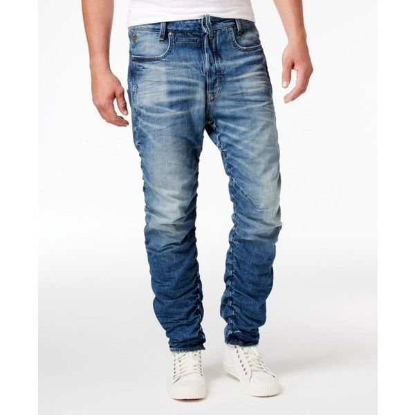 G-Star Raw Men's Staq 3D Cotton Slim-Fit Tapered Jeans ($230) ❤ liked on Polyvore featuring men's fashion, men's clothing, men's jeans, medium aged, mens slim cut jeans, mens cotton jeans, mens slim fit tapered jeans, mens jeans and mens slim tapered jeans