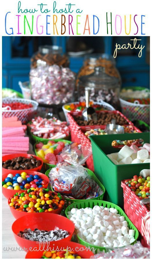 How To Host a Gingerbread House Party | Set up the candy and decorations for everyone to make their own house.