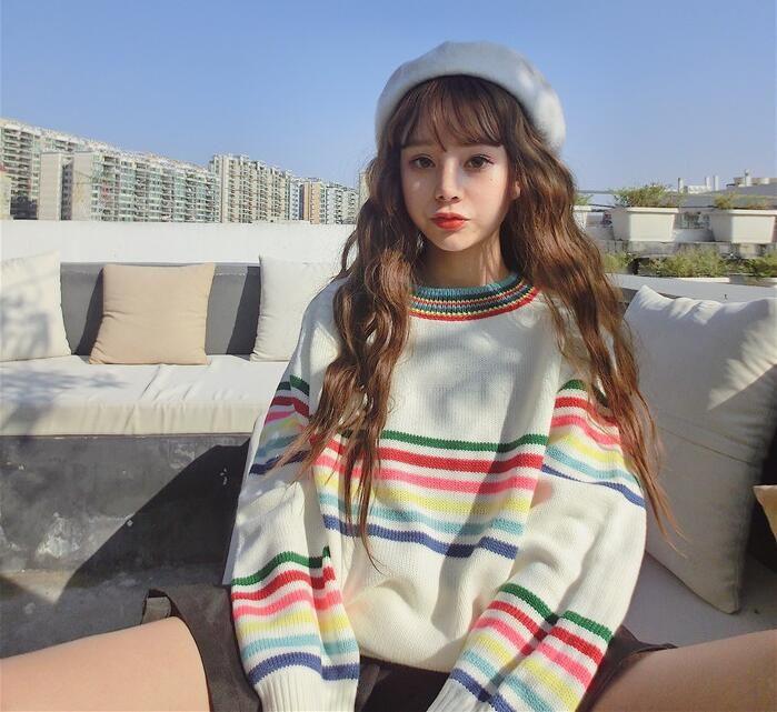Winter nieuwe Koreaanse versie van de kleine verse strepen losse lange mouwen trui in Winter nieuwe Koreaanse versie van de kleine verse strepen losse lange mouwen trui van truien op AliExpress.com | Alibaba Groep