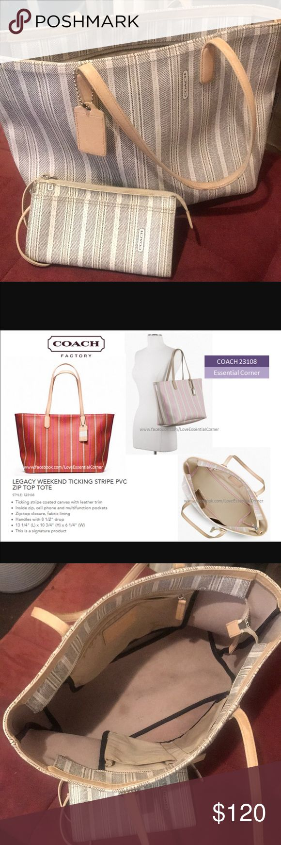 COACH Legacy Weekend Tote COACH Legacy Weekend Ticking Stripe, used condition, shows signs of wear, still in good condition. Lovely everyday use purse.I am throwing the wristlet with the deal. I purchased at Coach store . Coach Bags Totes