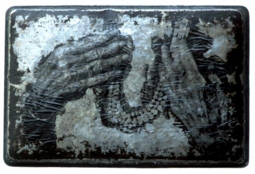 Sally Mankus  mixed media on metal - hands, beads