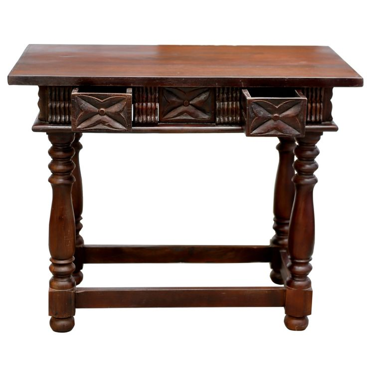 A Style Spanish Table With Turned Legs, Carved Front And 2 Drawers. Console  Has Iron Knobs And Is Reconstructed Using Reclaimed Wood.