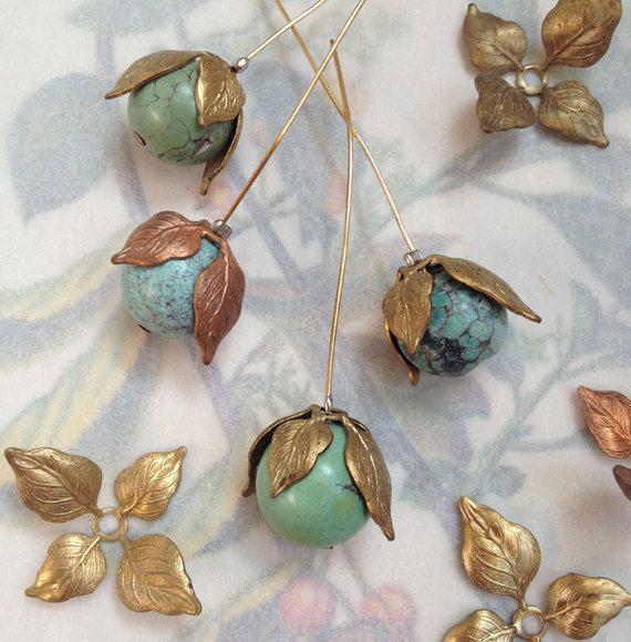 Vintage Leaf Bead Caps, Nature Beads Caps, Texture Brass Bead Caps, Leaf Findings, 12Pcs