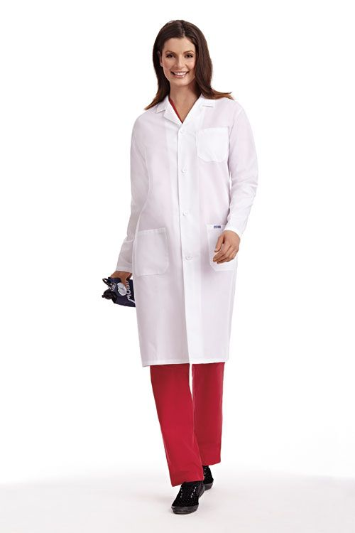 Full Length UNISEX Lab Jacket : Durable professional lab coat at a great price. Standard button front coat with two patch pockets, one chest pocket and side access slits. This lab coat is also available with a snap front closure