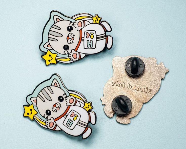"""Polydactyl Space Cat enamel pin - Kawaii enamel pins - Cloisonné lapel pin - Cute cat jewelry - Perfect for the cat lover in your life.  Pin comes in a fitted clear plastic bag ready for gift giving.  Size: 1.5"""" ( 4cm ) 2 pin posts 2 black rubber clutches  A portion of sales is donated to bunny and/or animal rescue organizations monthly"""