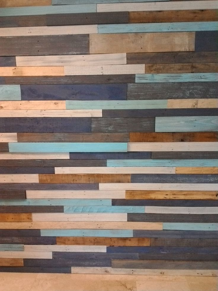 Multi Colored And Distressed Plank Wall Plank Walls Pallet Accent Wall Stained Shiplap