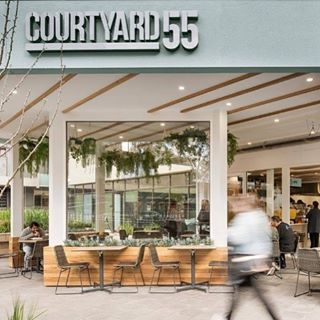 The new Courtyard 55 cafe at St Vincent's Hospital for our Zouki clients #brand #branding #graphicdesign #interiordesign #hospitality #cafe #blue #coffee #logo #designer #design #reddesigngroup #melbourne #zouki