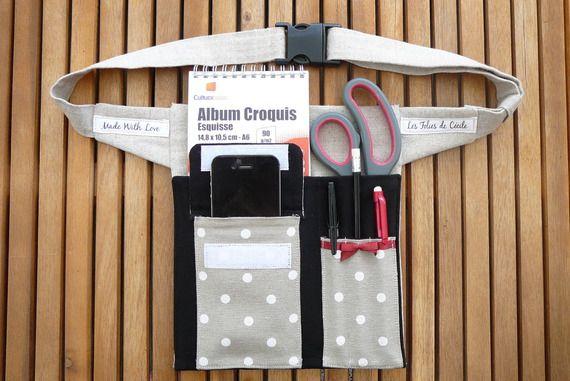 Ceinture utilitaire à poches  femme,pour rangement accessoires, tel, tablette numerique,carnet, outils....SUR COMMANDE et personnalisable!