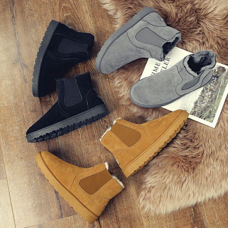 US $20.48 <Click to buy> Prelesty Winter Vintage Style Mens Chelsea Boots Men Fur Shoes Boots Casual Classical Plush Inside Warm Botas Hombre