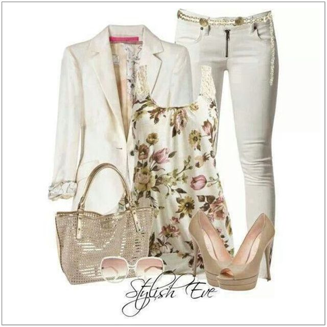 CHATA'S DAILY TIP: We love this season's romantic feel in soft florals. A white two-piece jacket and pant combination is versatile and easy to update to latest-trend status. If you have a fuller figure choose prints the size of your fist, or smaller. Nude heels are perfect for an overall white outfit. COPY CREDIT: Chata Romano Image Consultant, Erika Swanepoel http://chataromano.com/consultant/erika-swanepoel/ IMAGE CREDIT: Stylish Eve #chataromano #imageconsultant #colour #style #fashion