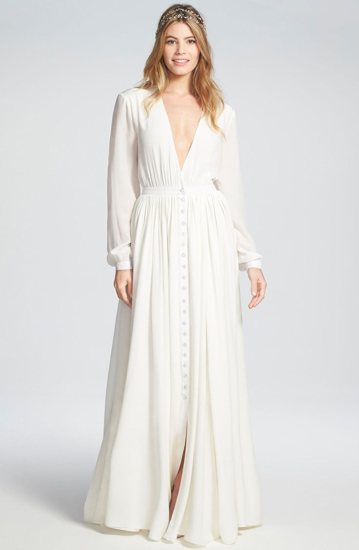 151 best vestidos images on pinterest diane von for Flowy wedding dress with sleeves