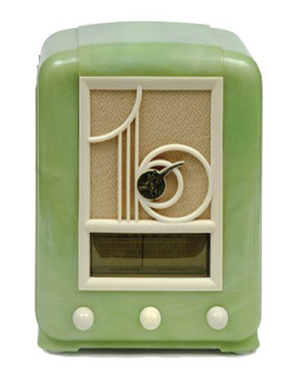 Things things things  Drool deco things 1937 green Bakelite Mullard radio.