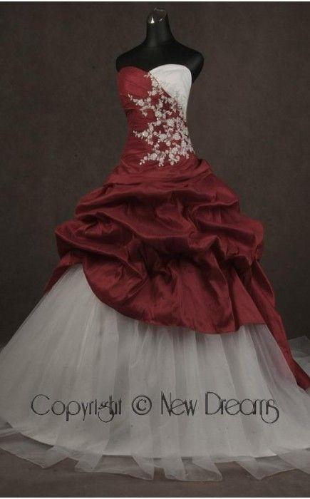 abito da sposa V5112-red and white wedding dress ball gown