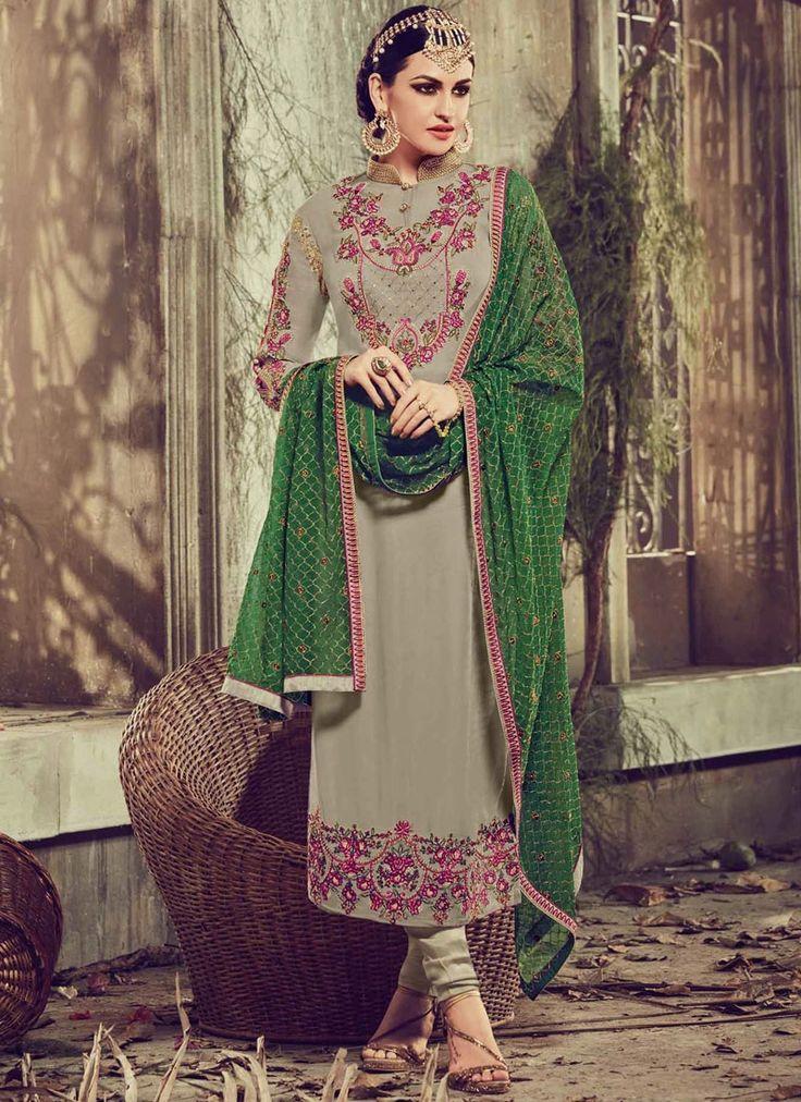 Salwar kameez in latest designs. Buy indian salwar kameez. Buy this imposing grey churidar designer suit.