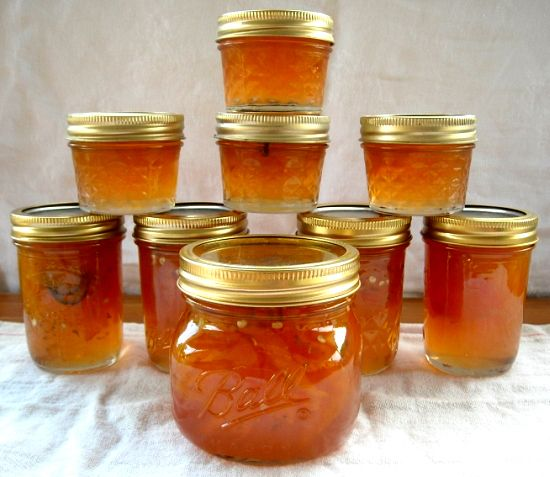 Peach Pepper Jam  ***This is a good recipe, I added extra jalapeño peppers and it needs to have 2 pectins instead of 1.