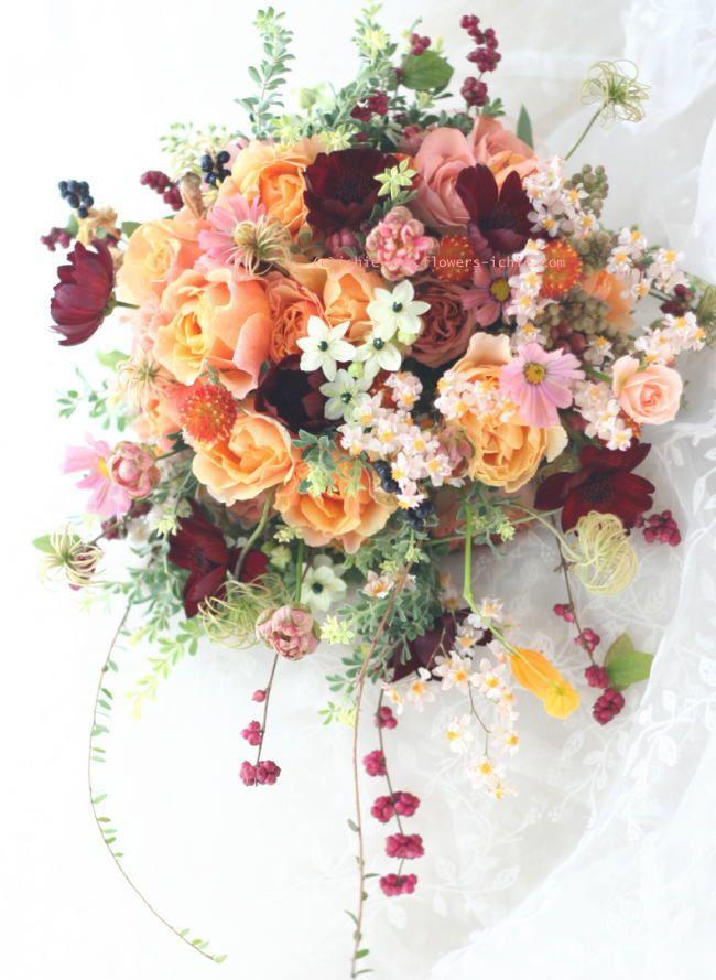 結婚式のブーケ 秋の光 : 一会 ウエディングの花